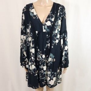 Johnny Was Boho Floral Print Dress with Lace SZ S